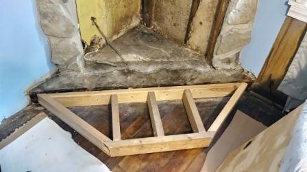 Built foundation with 2x4s